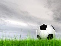 Pallone da calcio concettuale 3D nell'erba del campo con un fondo del cielo Fotografia Stock Libera da Diritti