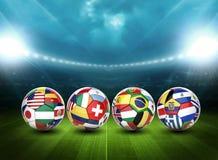 pallone da calcio 3d con le bandiere del gruppo di nazioni Immagini Stock Libere da Diritti