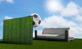 Pallone da calcio 3d-illustration Fotografie Stock Libere da Diritti