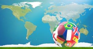 Pallone da calcio 3d-illustration della bandiera del Qatar con la mappa di mondo elementi Fotografia Stock