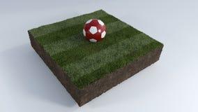pallone da calcio 3D sulla toppa dell'erba Fotografie Stock