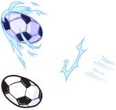 Pallone da calcio del fumetto di vettore che è modello dato dei calci a Immagini Stock Libere da Diritti