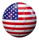 Pallone da calcio della bandiera di U.S.A. Fotografia Stock