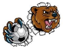 Pallone da calcio della tenuta dell'orso che tagliato fondo Fotografia Stock