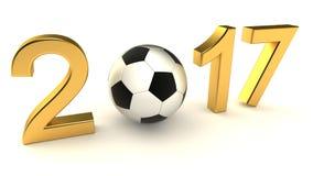 Pallone da calcio 2017 di anno Fotografie Stock Libere da Diritti