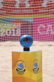 Pallone da calcio di Oficial in MUNDIALITO - Carcavelos 2017 Portogallo Fotografia Stock Libera da Diritti