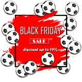Pallone da calcio di vendita di Black Friday Fotografie Stock