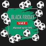 Pallone da calcio di vendita di Black Friday Fotografia Stock