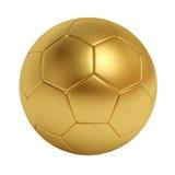 Pallone da calcio dorato isolato su fondo bianco Fotografia Stock