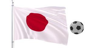 Pallone da calcio e la bandiera d'ondeggiamento del Giappone su un fondo bianco, rappresentazione 3d Immagine Stock
