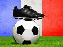 Pallone da calcio e morsetti in erba Fotografia Stock