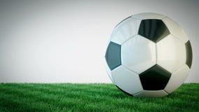 Pallone da calcio lucido girante sul campo di erba - ciclo senza cuciture stock footage