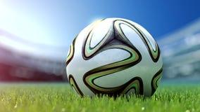 Pallone da calcio moderno in erba rappresentazione 3d Fotografie Stock