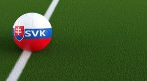 Pallone da calcio nei colori nazionali della Slovacchia su un campo di calcio Copi lo spazio dalla destra Immagine Stock Libera da Diritti