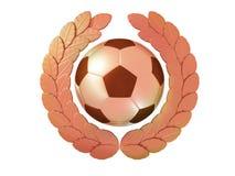 Pallone da calcio nella corona bronzea dell'alloro Fotografia Stock Libera da Diritti
