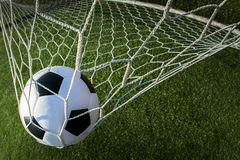 Pallone da calcio nello scopo Fotografia Stock Libera da Diritti