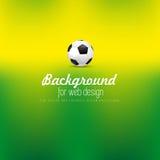 Pallone da calcio per webdesign su fondo defocused, Fotografia Stock Libera da Diritti