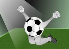 Pallone da calcio sotto il riflettore Fotografie Stock