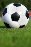 Pallone da calcio su erba Fotografie Stock Libere da Diritti