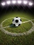 Pallone da calcio su un campo di calcio illustrazione di stock
