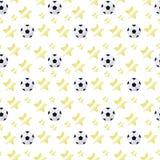 Pallone da calcio volumetrico semplice con un abbagliamento e le stelle gialle che ripetono il modello senza cuciture leggero di  Fotografia Stock Libera da Diritti