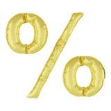 Pallone del metallo su un fondo bianco Segno di percentuali dorato % Sconti, vendite, feste, anniversari royalty illustrazione gratis