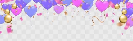Pallone di buon compleanno colourful con lo spazio libero di Libro Bianco delle fiamme e dei coriandoli Priorità bassa trasparent royalty illustrazione gratis