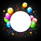 Pallone di compleanno con il fondo dei coriandoli Immagini Stock Libere da Diritti