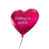 Pallone rosa del cuore isolato su fondo bianco Fotografia Stock