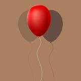 Pallone rosso con ombra Fotografia Stock Libera da Diritti