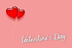 Pallone rosso del cuore in Valentine& x27; giorno di s illustrazione di stock