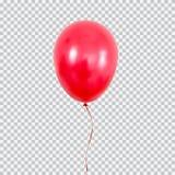 Pallone rosso dell'elio su fondo trasparente Immagini Stock