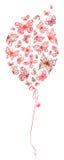 Pallone rosso delle farfalle Immagini Stock Libere da Diritti