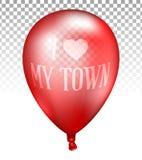 pallone trasparente rosso realistico 3d Vector l'illustrazione del pallone fotorealistico dell'elio di volo, io amano la mia citt Immagine Stock