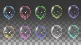 Pallone trasparente sui palloni del fondo Fotografie Stock