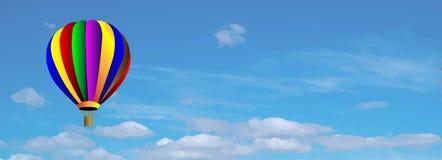 Pallone variopinto dell'aria calda di vettore su cielo blu Immagini Stock Libere da Diritti