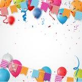 Pallone variopinto di compleanno con le bandiere ed i coriandoli della stamina illustrazione vettoriale