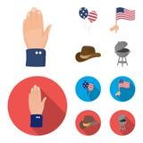 Palloni, bandiera nazionale, cappello da cowboy, mano della palma Icone stabilite della raccolta di giorno del patriota nel fumet Immagine Stock Libera da Diritti