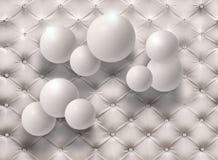 Palloni bianchi sui precedenti bianchi della pelle Carta da parati della foto per l'interno rappresentazione 3d immagine stock libera da diritti