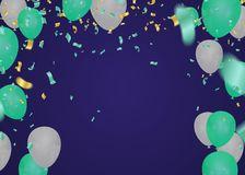 Palloni blu e bianchi che galleggiano nello studio pastello della stanza del fondo Illustrazione di vettore per il sito Web, mani royalty illustrazione gratis