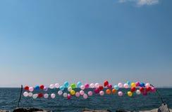 palloni, cielo, mare Fotografie Stock Libere da Diritti