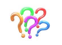 Palloni colorati in una forma di una domanda illustrazione 3d dei punti interrogativi Immagini Stock