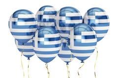 Palloni con la bandiera della Grecia, concetto di festa rappresentazione 3d Fotografie Stock