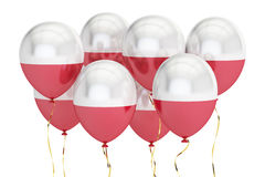 Palloni con la bandiera della Polonia, concetto holyday rappresentazione 3d Immagini Stock