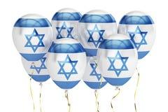 Palloni con la bandiera di Israele, concetto holyday rappresentazione 3d Immagini Stock Libere da Diritti