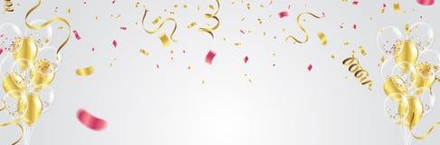 Palloni, coriandoli e fiamme dell'oro su fondo bianco Vecto royalty illustrazione gratis