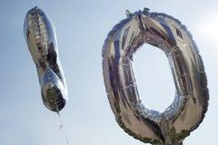 Palloni d'argento di numero dieci Fotografia Stock Libera da Diritti
