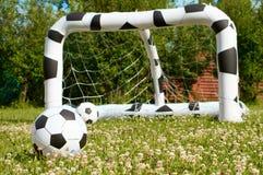 Palloni da calcio gonfiabili e scopo Immagine Stock
