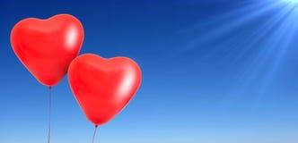 Palloni del cuore di amore Fotografia Stock