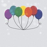 Palloni del mazzo e del lattice del pallone dell'elio isolati su fondo trasparente Fotografia Stock Libera da Diritti